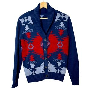 American Living Aztec Geometric Button Cardigan